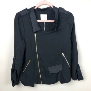 ANTHROPOLOGIE LINE & DOT Black Blouse With Zippers